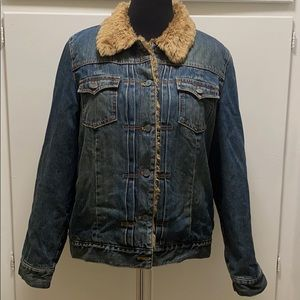 Gap denim jacket with faux fur